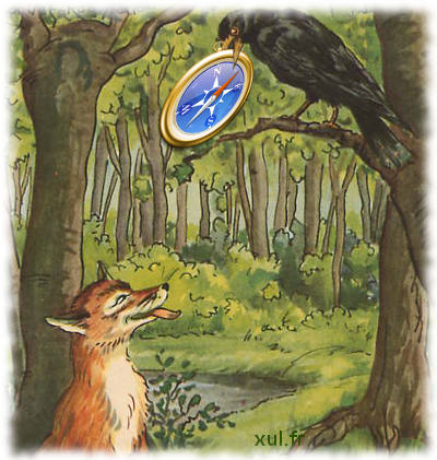 Fox facing a raven holding in its beak the compass logo of WebKit